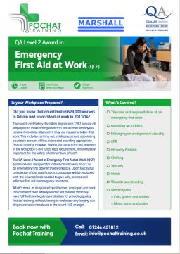 QA Level 2 Award in Emergency First Aid at Work (QCF) - in short, EFAW.