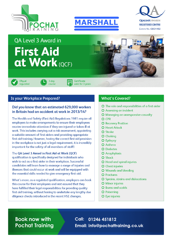 Our First Aid at Work Course Flyer