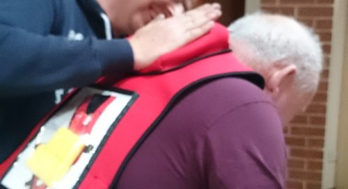 Treating a person who is choking severely at an Emergency First Aid at Work Training Course (EFAW)