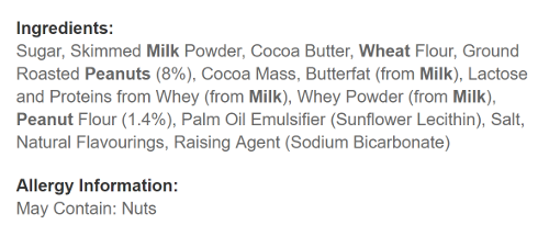 Ingredients of KitKat Bites Peanut Butter Pouch Bag