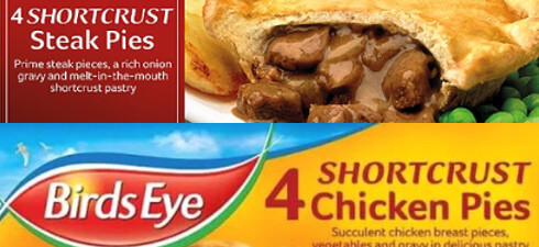Birds Eye is recalling its 4 x Shortcrust Chicken Pies because some packs contain Steak Pies, containing mustard, instead of Chicken Pies.