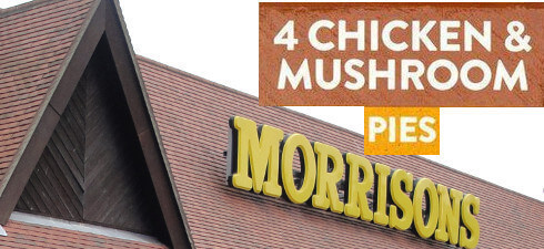 Morrisons is recalling Traditional Chicken & Mushroom Pie because a small number of packs have been identified to contain Fish Pies.